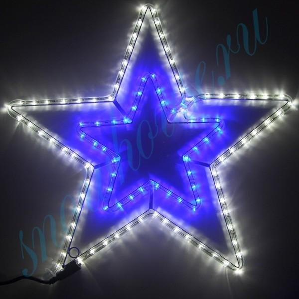"""Фигура из дюралайта """"Звезда"""" на каркасе, 108 светодиода, 52 см, соединяемая (до 10 шт.), уличная, белый/синий"""
