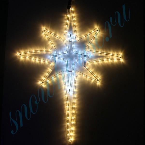 """Фигура из дюралайта """"Рождественская звезда"""", 162 светодиода, 72 см, соединяемая (до 10 шт.), уличная, белый/желтый"""