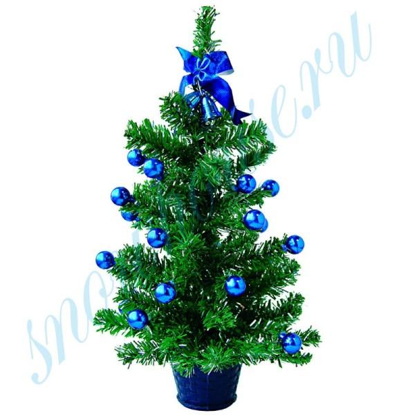 Настольная ёлочка с украшениями, 40 см, в синем горшке