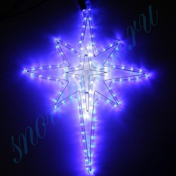 """Фигура из дюралайта """"Рождественская звезда"""", 122 светодиода, 52 см, соединяемая (до 10 шт.), уличная, белый/синий"""