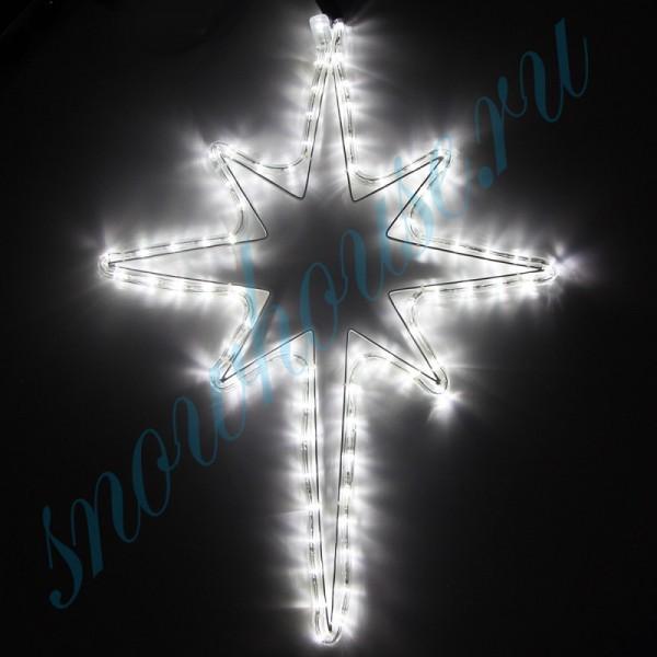"""Фигура из дюралайта """"Рождественская звезда"""", 90 светодиодов, 52 см, соединяемая (до 10 шт.), уличная, белый"""