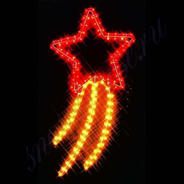 """Фигура из дюралайта """"Падающая звезда"""", 60х33 см, контроллер 8 режимов, уличная, красный/желтый"""
