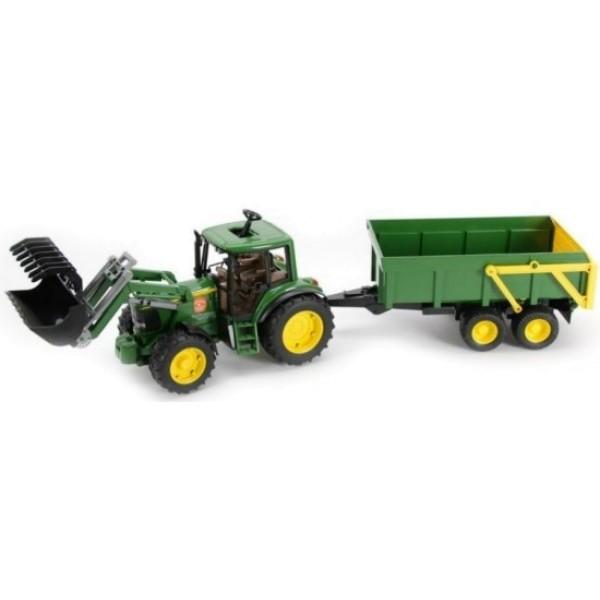 01-134 Bruder Трактор John Deere 6920 с погрузчиком и прицепом