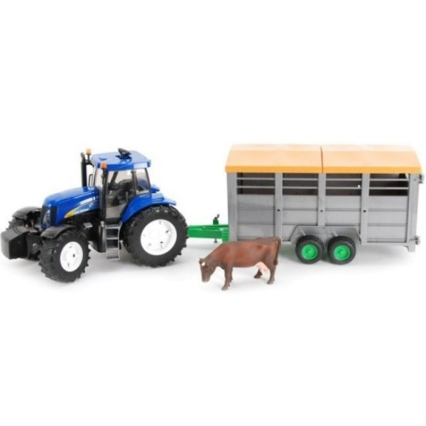 01-695 Bruder Трактор New Holland T8040 с прицепом для перевозки крупного рогатого скота