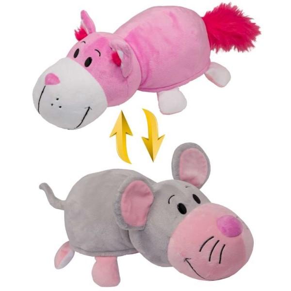 Мягкая игрушка Вывернушка 2в1 Розовый кот-Мышка 35 см Т10928 1toy