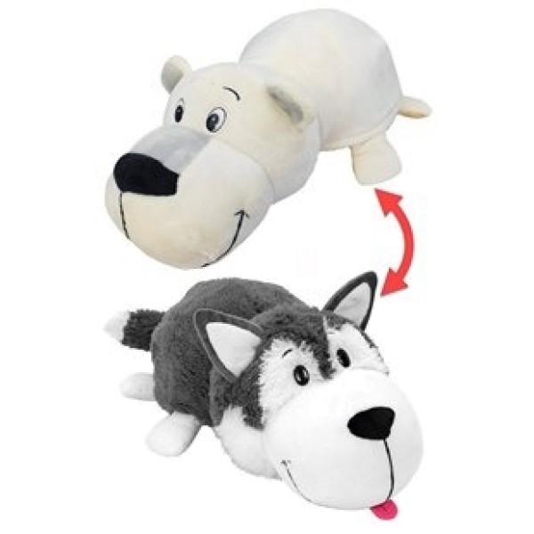 Мягкая игрушка Вывернушка 2в1 Хаски-Полярный медведь 40 см Т10929 1toy