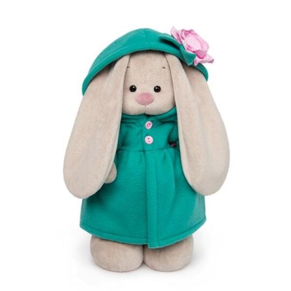 Мягкая игрушка Зайка Ми в изумрудном пальто с розовым цветочком 25см, BUDI BASA StS-238