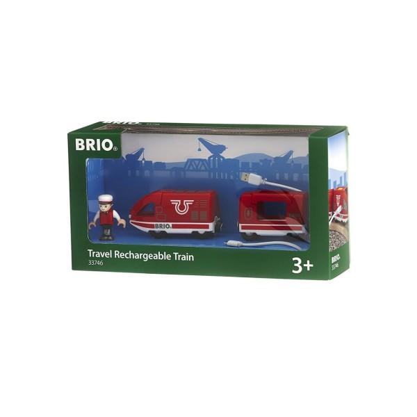 Деревянная ж/д - Пассажирский поезд с USB подзарядкой и фигуркой 33746 Brio