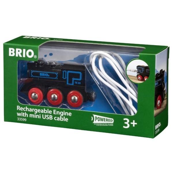Деревянная ж/д - Подзаряжаемый ретро-паровоз с mini USB кабелем 33599 BRIO
