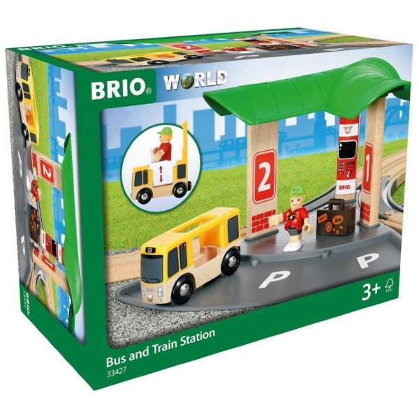 Деревянная ж/д - Станция 2-в-1 Авто и Ж/Д вокзал 33427 BRIO