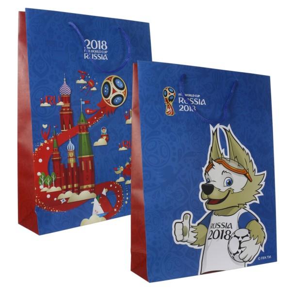 FIFA-2018 пакет подарочный 45*33*10 см,157 гр бум.матовый синий,ручка-шнурок