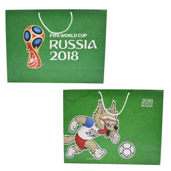FIFA-2018 пакет подарочный 41*55*15.5см,157 гр бум.матовый зел.,ручка-шнурок