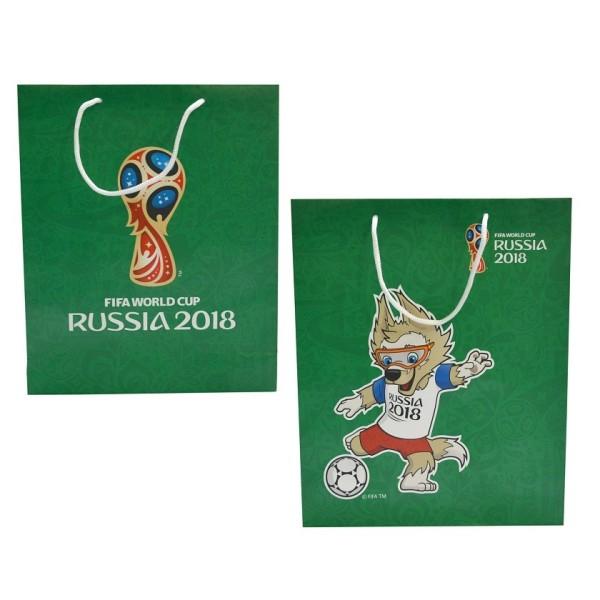 FIFA-2018 пакет подарочный 34*28*9 см,128 гр бум.матовый зеленый,ручка-шнурок