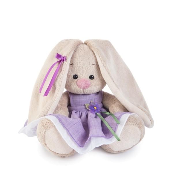 Мягкая игрушка Зайка Ми в фиолетовом платье с цветочком 15см, SidX-182 BUDI BASA