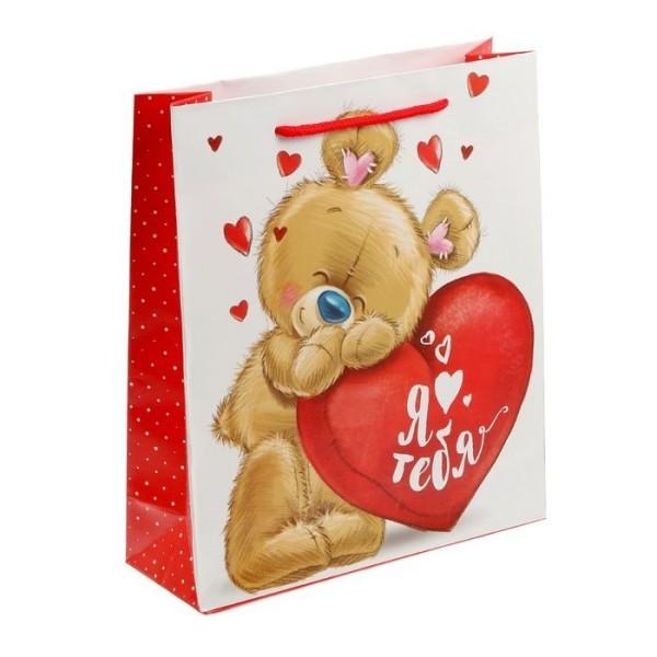 Пакет ламинированный вертикальный «Влюбленный мишка»,1499565 Дарите Счастье