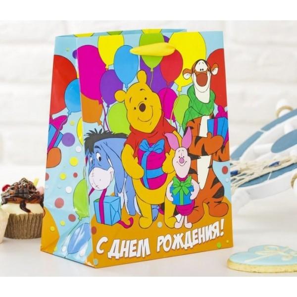 Пакет ламинированный вертикальный Веселого праздника!, Медвежонок Винни и его друзья, 2019766 Дарите Счастье