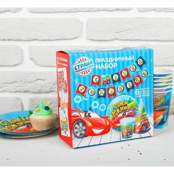 Набор бумажной посуды С днем рождения, крутые тачки  2865989 Страна карнавалия