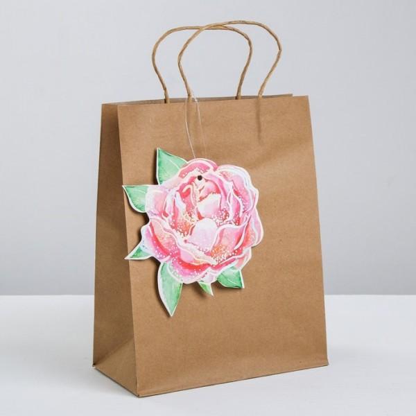 Пакет крафтовый с шильдиком «От всей души», 3840905 Дарите Счастье