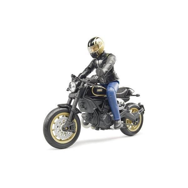 Мотоцикл Scrambler Ducati Cafe Racer с мотоциклистом, 63-050 Bruder