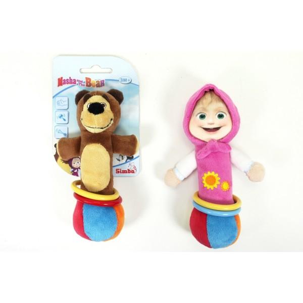 9300814 Simba Погремушка-пищалка плюшевая с кольцами Маша и Медведь, 2 в