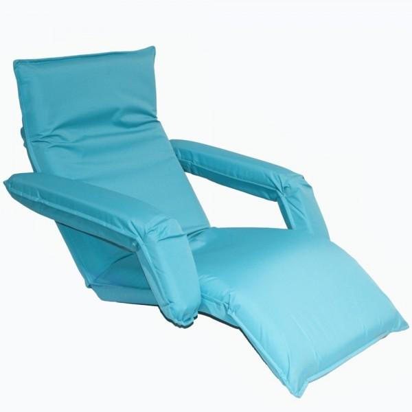 Кресло-шезлонг регулируемое с подлокотниками цвет голубой LF10-NBin  MERLIN