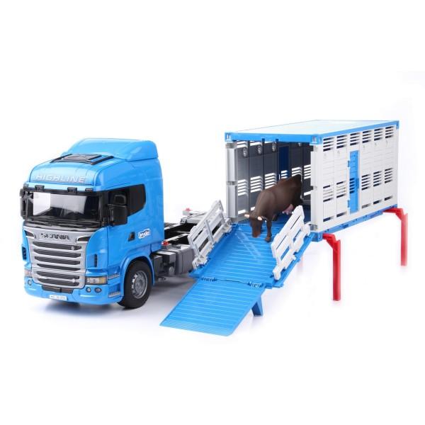 Фургон Scania для перевозки животных с коровой (подходит модуль со звуком и светом H) 03-549 Bruder