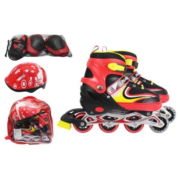Коньки роликовые в комплекте с защитой и шлемом, M (34-37), красные, Т59754 1Тoy