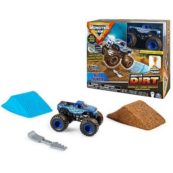 Игровой набор из серии Монстр Джем  Blue Thunder с машинкой и кинетическим песком  6045198 Spin Master