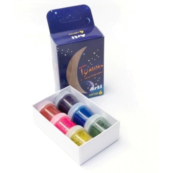 Краски гуашевые с блестками 6 цветов по 10 мл 60 мл Arti К000272