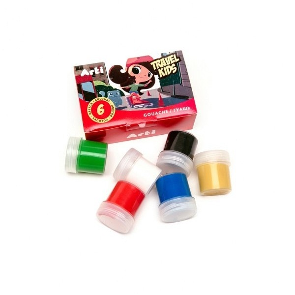 Краски гуашевые Travel Kids 6 цветов по 20 мл 120 мл Arti К000264