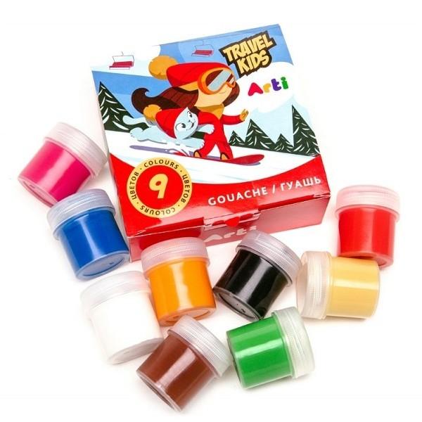 Краски гуашевые Travel Kids 9 цветов по 20 мл 180 мл Arti К000265