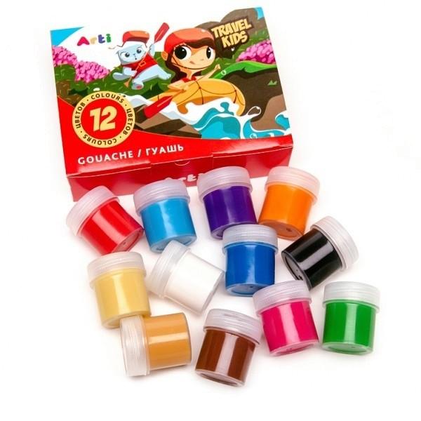 Краски гуашевые Travel Kids 12 цветов по 20 мл 240 мл Arti К000266