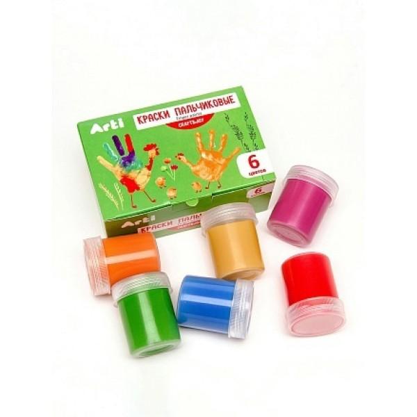 Краски гуашевые пальчиковые Craft and joy 6 цветов по 40 мл 240 мл Arti К000274