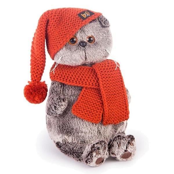 Мягкая игрушка Басик в вязаной  шапке и шарфе, 19 см, Ks19-075 Budi Basa