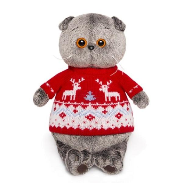 Мягкая игрушка Басик в свитере с оленями, 19 см, Ks19-089 Budi Basa