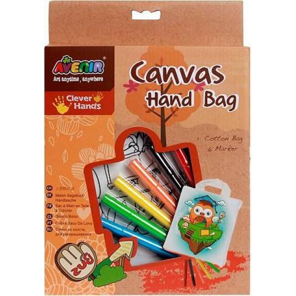Набор для раскрашивания сумки из холста Сова AL2006 Avenir