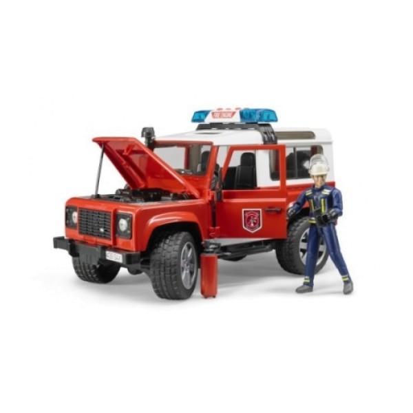 02-596 Bruder Внедорожник Land Rover Defender Station Wagon Пожарная с фигуркой