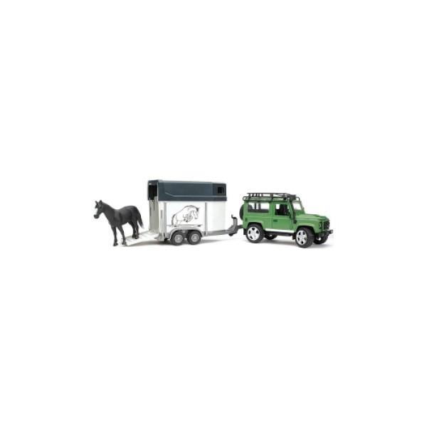02-592 Bruder Внедорожник Land Rover Defender с прицепом-коневозкой и лошадью