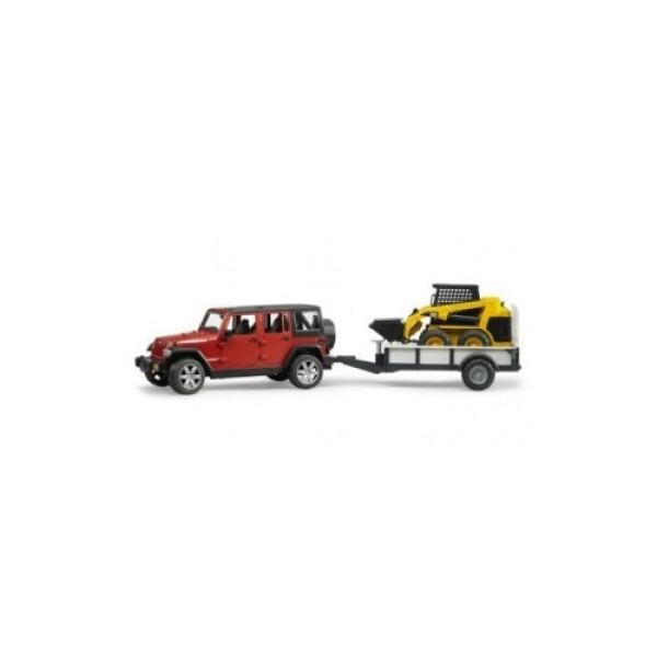 02-925 Bruder Внедорожник Jeep Wrangler Unlimited Rubicon c прицепом-платформой и колёсным мини погрузчиком CAT