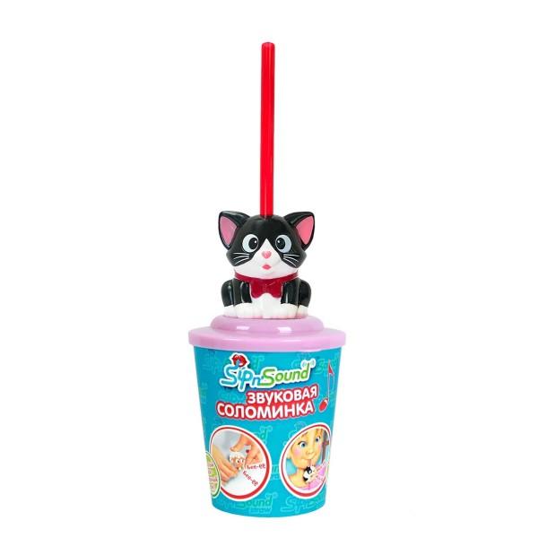 Звуковая соломинка кошка черно-белая 16006-1 Sip'n Sound