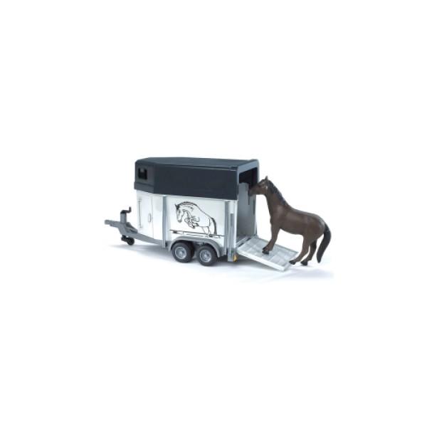 02-028 BRUDER Прицеп-коневозка с лошадью