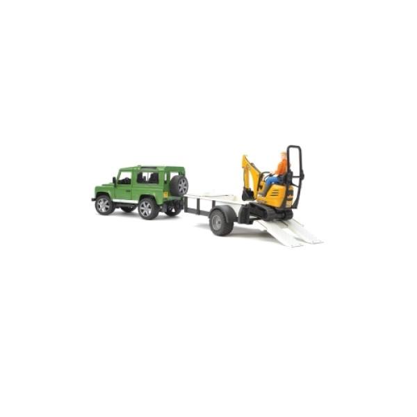 02-593 Bruder Внедорожник Land Rover Defender c прицепом-платформой, гусеничным мини экскаватором 8010 CTS и рабоч