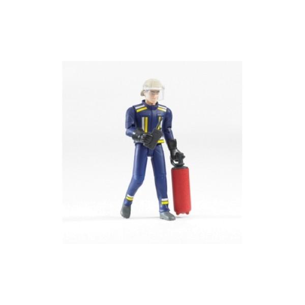 Фигурка пожарного 107мм с огнетушителем и рацией