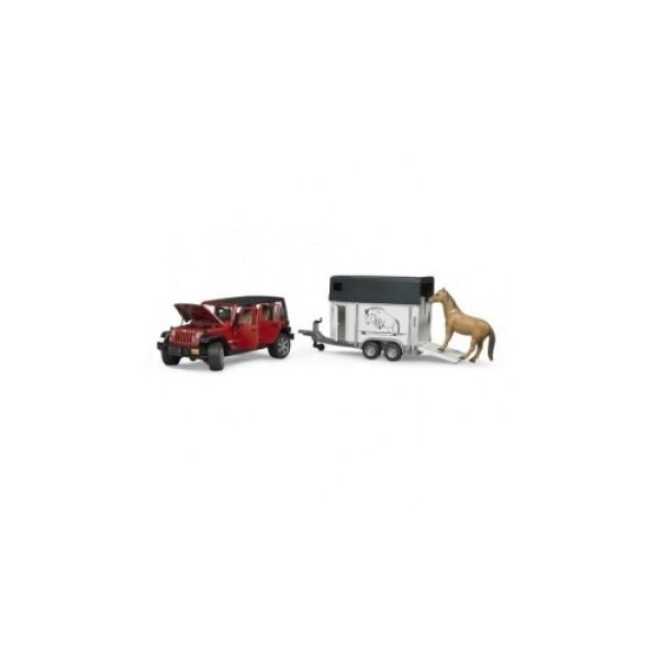 02-926 Bruder Внедорожник Jeep Wrangler Unlimited Rubicon c прицепом-коневозкой