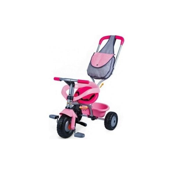 444141 Smoby Трехколесный велосипед розовый с сумкой